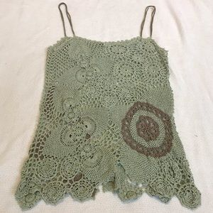 Anthro Moth Green Crocheted Tank Top